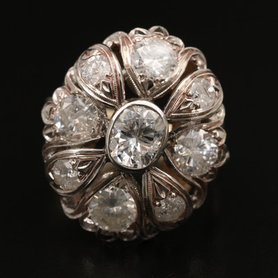 14K 4.59 CTW Diamond Cluster Ring