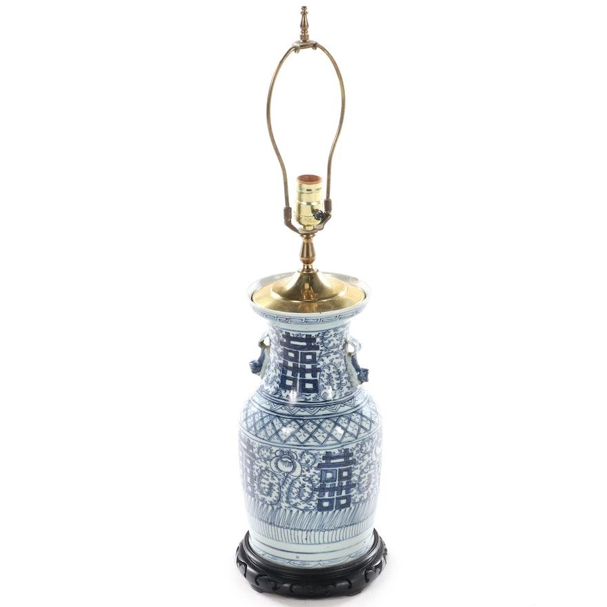 Chinese Blue and White Porcelain Baluster Vase Table Lamp