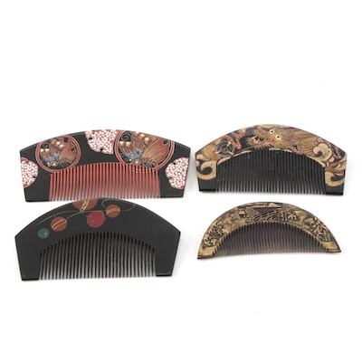 Japanese Urushi Hair Combs Including Abalone Inlays, Dragon and Foliate Motifs