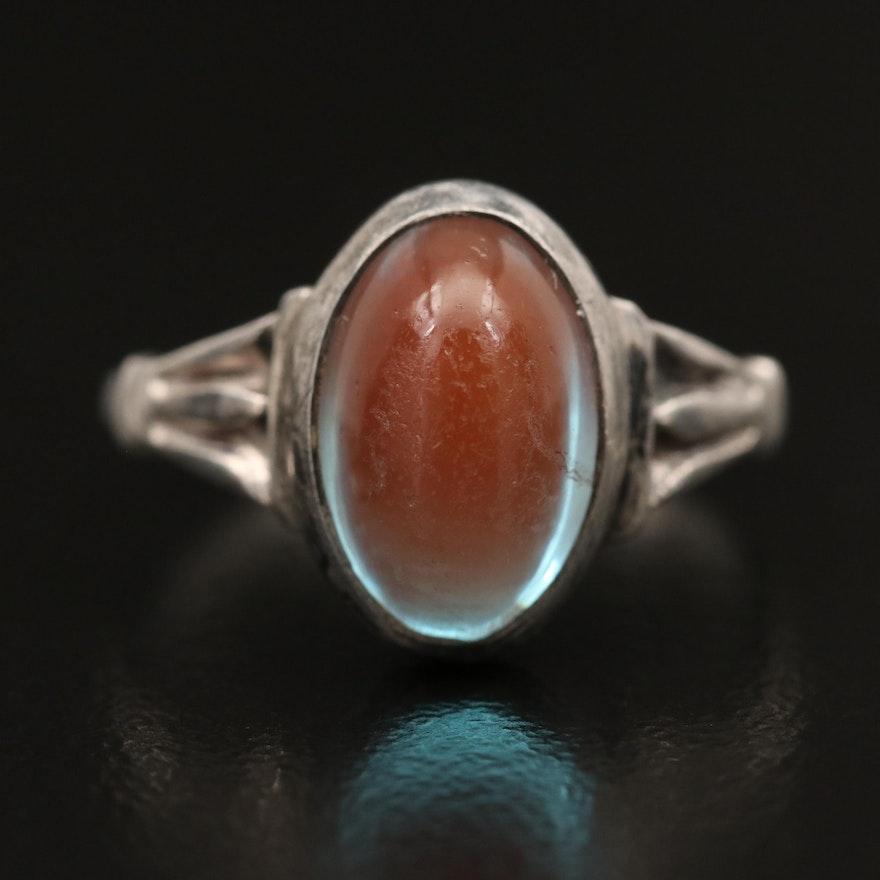 Vintage Sterling Silver Saphiret Glass Ring
