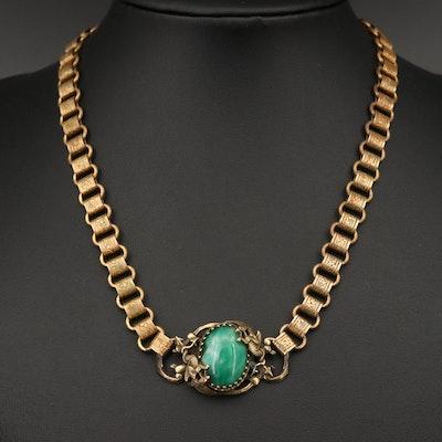 Art Nouveau Czech Glass Necklace with Dragon Accents