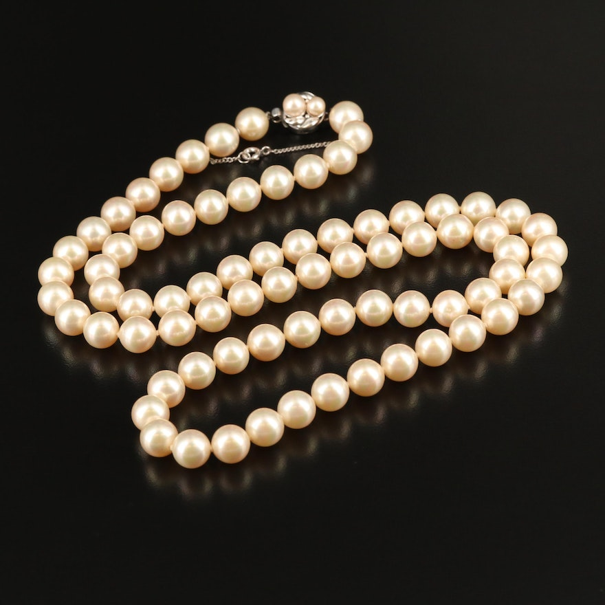 Faux Pearl Necklace with Sterling Clasp