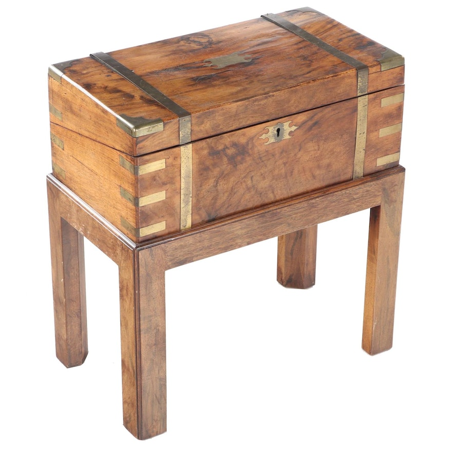 Walnut and Brass Inset Lap Desk with Stand, Late 19th Century