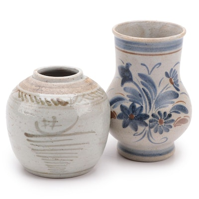 Chinese Zhangzhou (Swatow) Ware Ginger Jar with Quimper Stoneware Vase