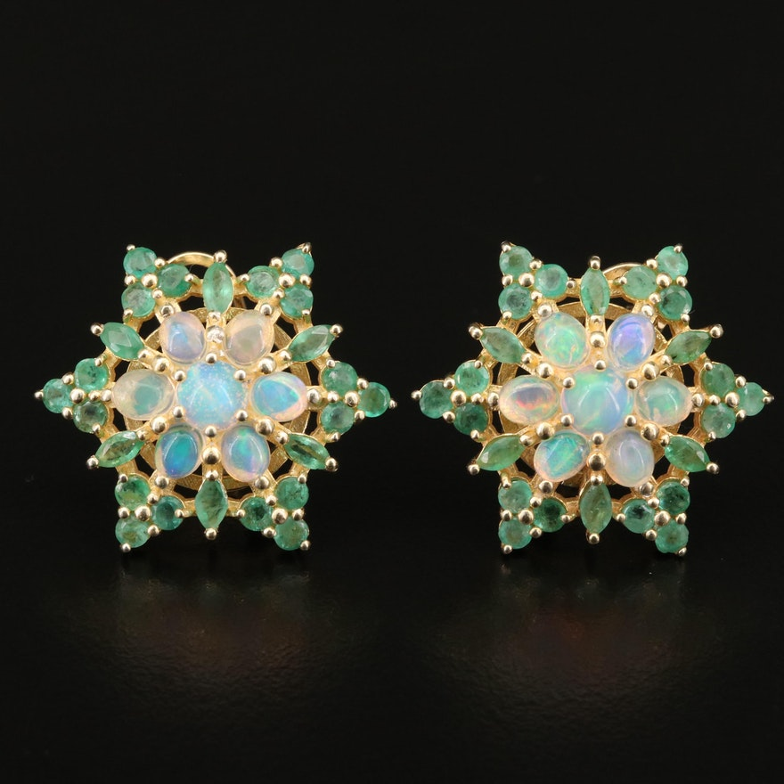 Sterling Silver Emerald and Opal Star Cluster Earrings