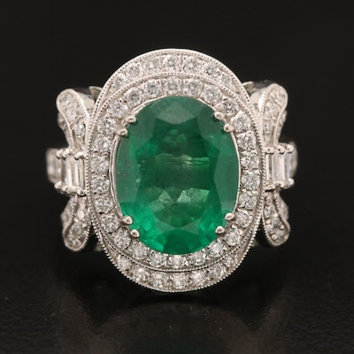 Platinum 4.29 CT Emerald and 1.08 CTW Diamond Ring