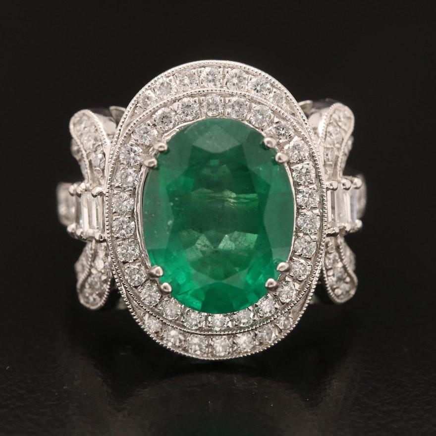Platinum 4.29 CT Emerald and 1.08 CTW Diamond Ring