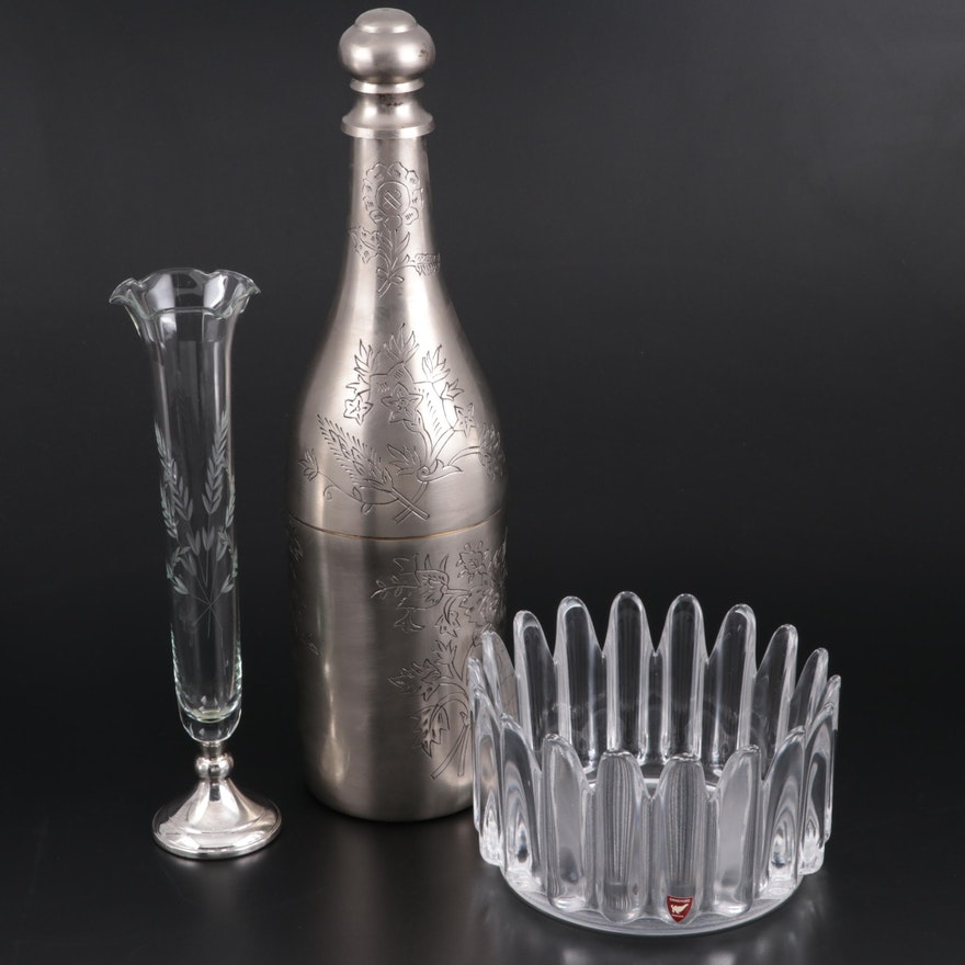 Web Sterling Footed Vase with Orrefors Bowl and April Cornell Bottle