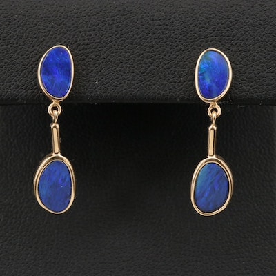14K Opal Triplet Oval Earrings
