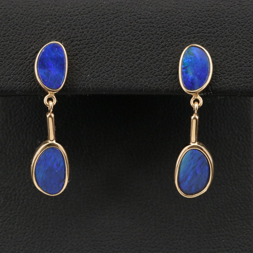 14K Opal Triplet Oval Earrings