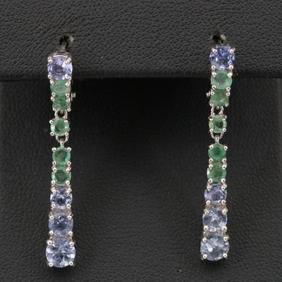 Sterling Silver Tanzanite and Emerald Graduated Drop Earrings