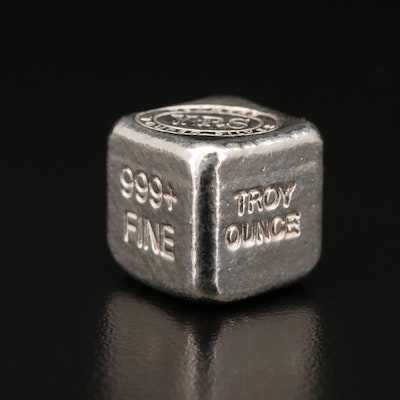 Yeagers Poured Silver 999 Fine Silver Troy Ounce Cube