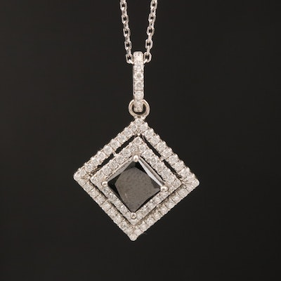 14K 1.67 CTW Black Diamond and Diamond Necklace