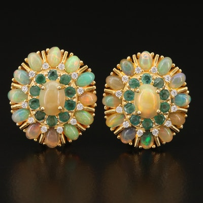 Sterling Opal, Emerald and Cubic Zirconia Button Earrings
