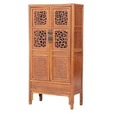 Chinese Carved Elm Armoire with Interior Paintings, Early 20th Century