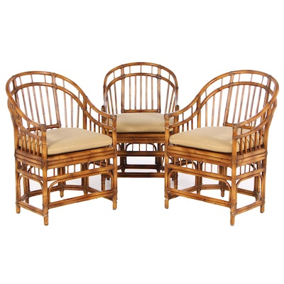 Three Baker Milling Road Bamboo Dining Chairs with Cane Seats