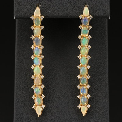 Sterling Opal and Cubic Zirconia Drop Earrings