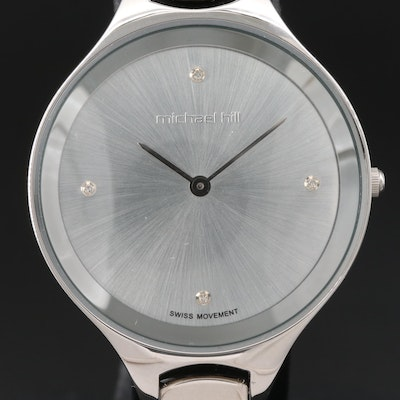 Michael Hall Stainless Steel Diamond Dial Wristwatch