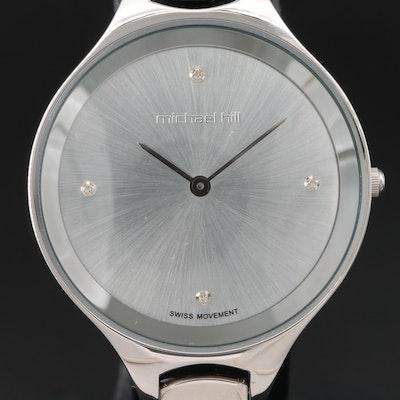 Michael Hall Stainless Steel Diamond Dial Wristwatch