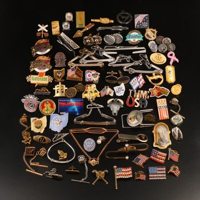 Jewelry Assortment Including Ohio and American Flag Pins