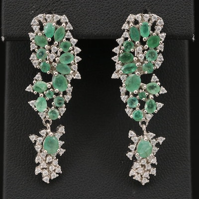 Sterling Emerald and Cubic Zirconia Cluster Earrings