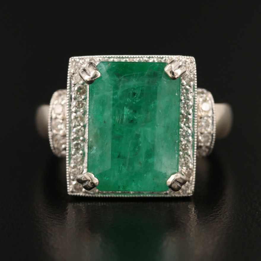 14K 6.46 CT Emerald and Diamond Halo Ring with Heart Gallery