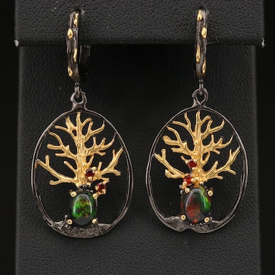 Sterling Opal and Garnet Tree Earrings