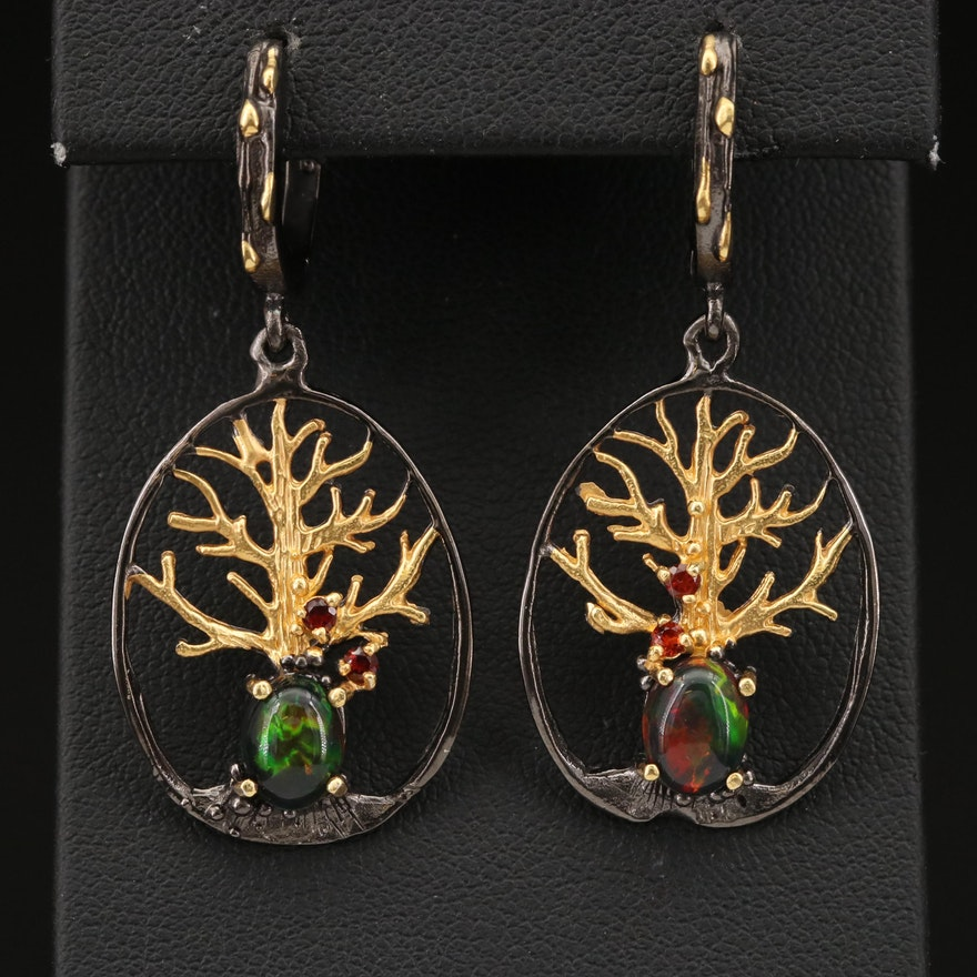 Sterling Opal and Garnet Tree Earrings