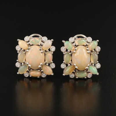 Sterling Opal and Cubic Zirconia Cluster Earrings
