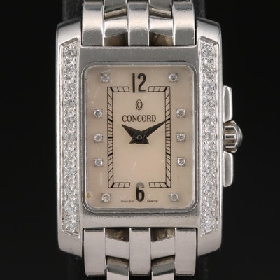 Concord Sportivo Stainless Steel Diamond Wristwatch