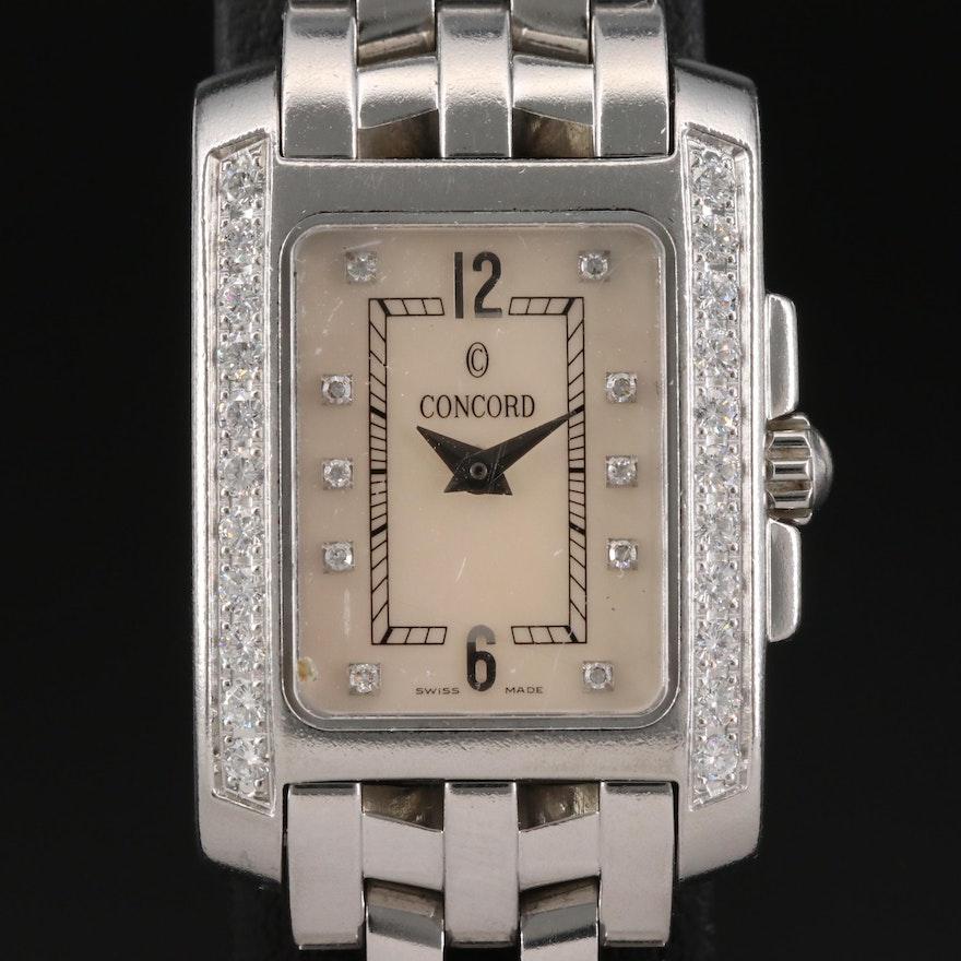 Concord Sportivo Stainless Steel Diamond Wristwatch