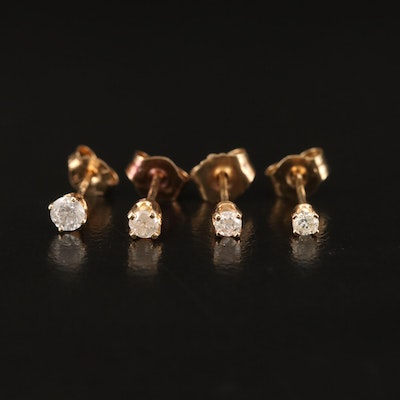14K Diamond Unmatched Single Stud Earrings