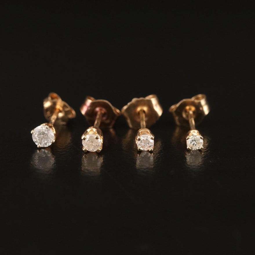 14K Diamond Unmatched Single Stud Earrings