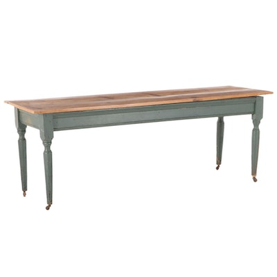 American Primitive Pine and Painted Oak Work Table, Late 19th Century and Later