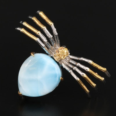 Sterling Silver Larimar and Sapphire Spider Brooch