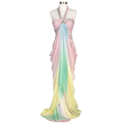 Alberto Makali Embellished Draped Silk Pastel Ombré Halter Gown with Wraps