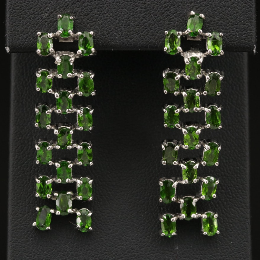 Sterling Diopside Dangle Earrings