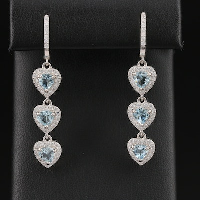 Sterling Silver Aquamarine and Cubic Zirconia Triple Heart Dangle Earrings