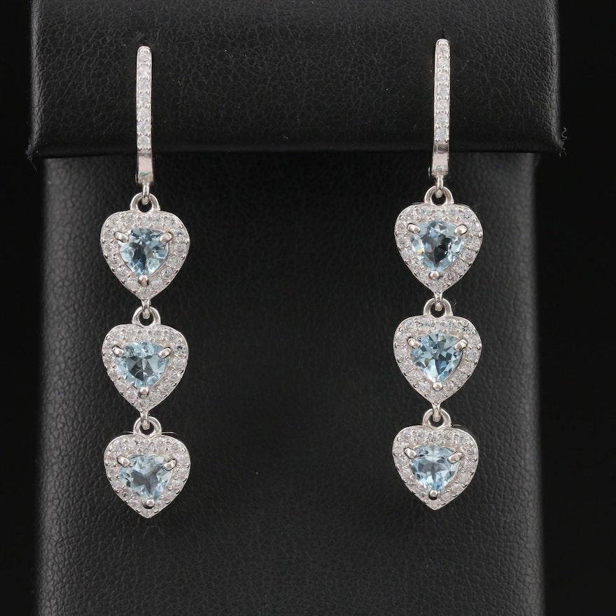 Sterling Silver Aquamarine and Cubic Zirconia Triple Heart Dangle Earrings