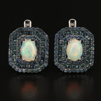 Sterling Opal and Sapphire Triple Halo Earrings