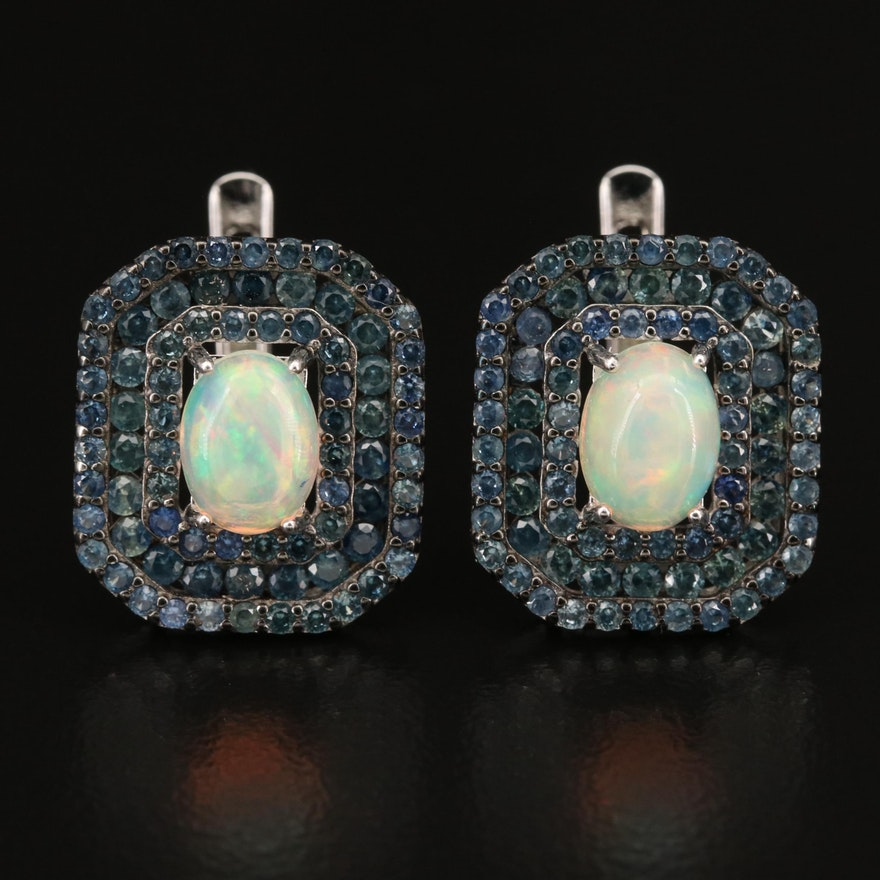 Sterling Opal and Sapphire Triple Halo Earrings