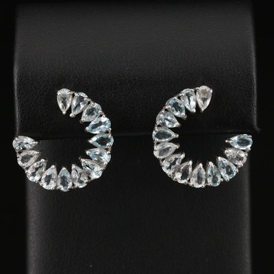 Sterling Silver Aquamarine Half Hoop Earrings
