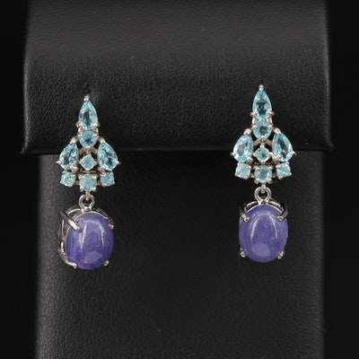 Sterling Silver Agate and Tanzanite Drop Earrings