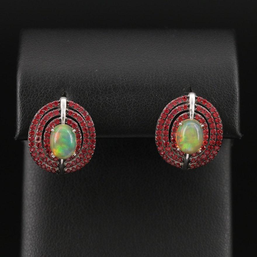 Sterling Opal and Ruby Triple Row Earrings
