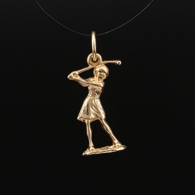 14K Female Golfer Charm