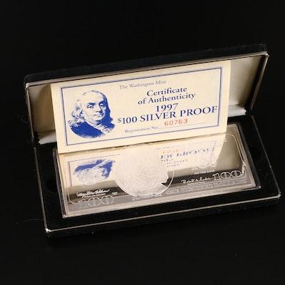 1997 $100 Franklin Quarter-Pound Fine Silver Proof