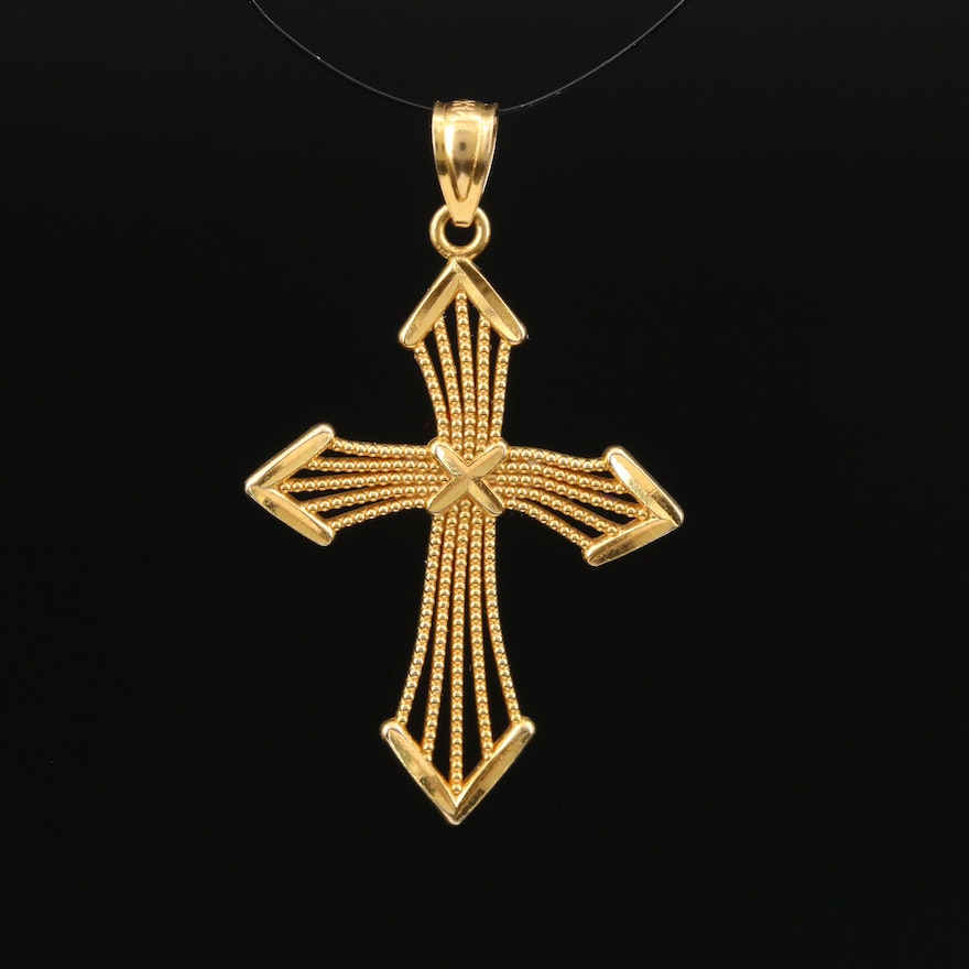 14K Religious Cross Pendant with Beading Accents