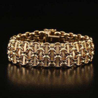 Vintage 14K Italian Basket Weave Bracelet