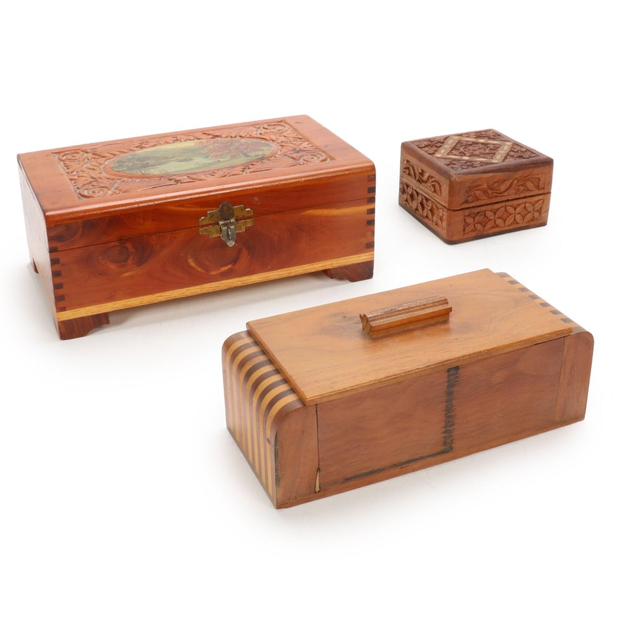 Art Deco Bench Made and Other Wooden Boxes, 20th Century