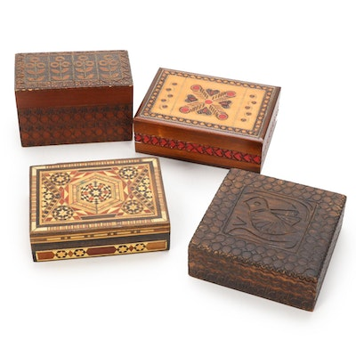 Marquetry Inlaid and Polish Carved Pyrography  Wooden Boxes